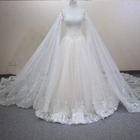 Vestido De Noiva Queen Bridal Wedding Dress with Beads Custom Size 0 2 4 6 8 10