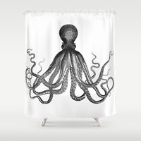 Antique Nautical Steampunk Octopus Vintage Victorian Kraken sea monster emo goth drawing Shower Curtain by iGallery