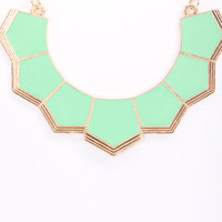Mint Lacquer Finish Geometric Cute Necklace