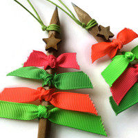 Bright NEON Christmas Tree Decor made with genuine PENCIL and topped with a Rustic STAR Set of 3 ready to hang