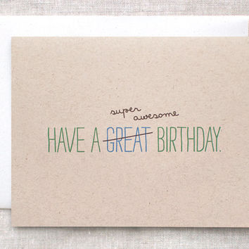 Birthday Card, Cute, Recycled, For Him - Typography, Super Awesome Birthday - Blue, Green, Brown