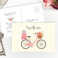 PRINTED funny moving announcement cards  | Personalized moving cards with pink bicycle
