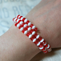 Memory Wire Bracelet Red & White Beaded Handmade Coil Wrap Bangle Football School Colors