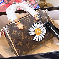 Hipgirls LV Fashion New Monogram Print Leather Pillow Shape Shoulder Bag Crossbody Bag Handbag Coffee