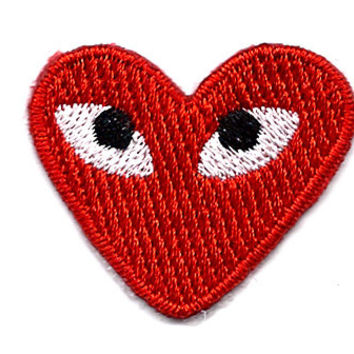 PLAY COMME des GARCONS Red Heart Eyes Embroidered Iron On / Sew On Patch