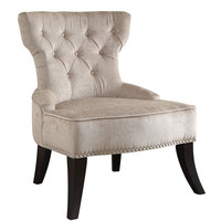 Ave Six Colton Vintage Style Button Tufted Velvet Chair with Nailhead Detail and Spring Seat in Brilliance Parchment Cream Fabric