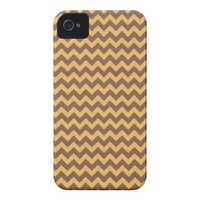 Chevron Beeswax Color And Coffee Brown Case-Mate iPhone 4 Case from Zazzle.com