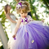 Princess Kids Girl Dresses Lilac  Flower Girl Dresses Flowers Tutu Dress Baby Girls Wedding Party Dress Kids Costumes