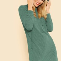 Solid Rib Knit Hoodie Dress
