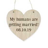 Custom Heart Shaped Save The Date Dog Pet Cat Wedding Signage Wooden Sign Laser Engraved Photo Prop Wedding Decoration Accessories
