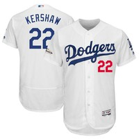 Men's Los Angeles Dodgers Clayton Kershaw Majestic White 2017 Postseason Patch Flex Base Player Jersey