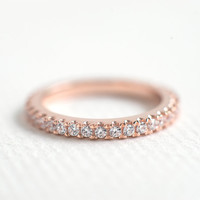 Rose Gold Wedding Band - 2.5mm Full Eternity Band - Rose Gold Stacking Ring - Micro Pave Band - Promised Ring - Wedding Ring