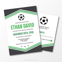 Soccer bar mitzvah invitations with soccer ball and dark gray and green borders