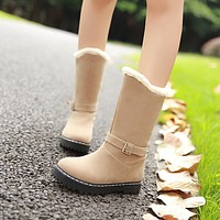 Women Snow Boots Buckle Winter Fur Mid Calf Boots Shoes Woman 2016 3509