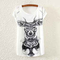 White Short Sleeve Monster Print T-Shirt