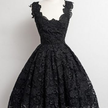 Elegant Black Short Prom Homecoming Dresses with Lace