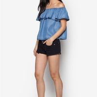 Off Shoulder Denim Blouse B005291