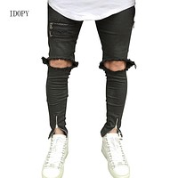 New Men`s Biker Skinny Jeans With Ankle Zipper Ripped Distressed Destroyed Big Knee Hole Slim Fit Pants For Hipster Street Style