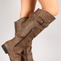 Land-5 Slouchy Round Toe Riding Knee High Boot