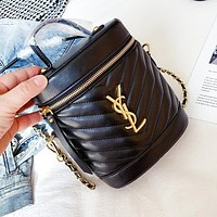YSL Fashion Women Shopping Bag Leather Handbag Tote Cylinder Package Crossbody Satchel Shoulder Bag