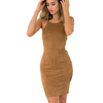 Vintage Sexy Women Wild Lace Up Bandage Faux Leather Suede Strapless Backless Dress Slim Bra Crop Summer Wear