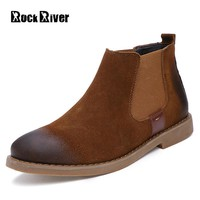 2018 Spring Cow Suede Chelsea Boots Men Kanye West Ankle Men Boots Genuine Leather Suede Warm Winter Shoes Men High Quality