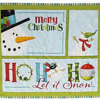 Quilted Wall Hanging Snowman Christmas Seasonal Print