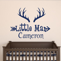 Deer Horns Wall Decal Boy Custom Personalized Boys Name Decor Little Man Vinyl Decal Kids Teens Boys Room Wall Decal Hunting Nursery T114