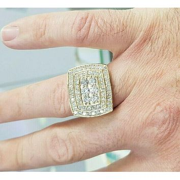 Men's 3 CT. Diamond Double Cushion Frame Ring in 10 Yellow Gold