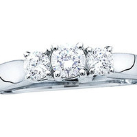 Diamond 3 Stone Ring in 14k White Gold 0.25 ctw
