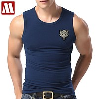 New Casual Men's Wolf T-shirts 2018 Round Neck Sleeveless Cotton embroidery Animal T shirt Men Tee Shirts Homme Camisetas Hombre