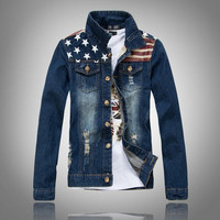 Men's Comfortable Slim Fit American Flag Denim Jacket Outwear