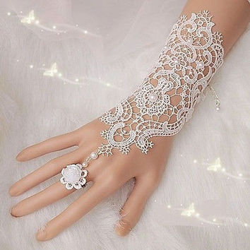Formal Wedding Dress Accessories 2014 Bride White Embroidered Dress Gloves (Color: White) = 1929937604