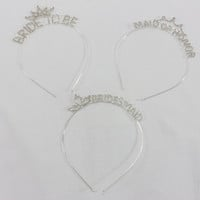 Wedding Party Crystal Silver Headband Tiaras to decorate DIY. Bride to Be, Maid of Honor, Bridesmaid. Bachelorette Party Favors