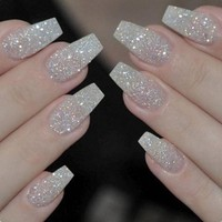 100PCS/Box Ballerina Nails Acrylic False Nails Full Cover Natural/White/Clear Coffin Nail Tips Artificial French Fake Nail Tips
