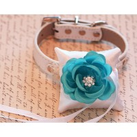 Blue Floral Ring Pillow for dogs attach to Collar, Ring Bearer Pillow pet wedding