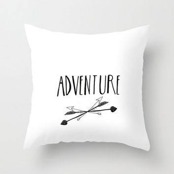 Adventure Arrows Handlettered Typography Black and White Home Decor Throw Pillow Decorative Pillow Home Accessory White Accent Pillow Cover