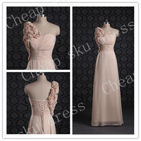 Bridesmaid /Party/Evening/Prom/Formal Dress Chiffon 2014 A-Line Sweetheart Handmade Flower One-shoulder Chiffon Lace-up Ruffle Floor-length