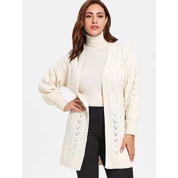 Plus Size Cable Knit Openwork Cardigan