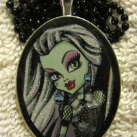Monster Frankie Necklace Goth Ghoul Charm Pendant Handcasted Resin Jewelry