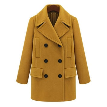 Plain Long-Sleeve Button Woolen Trench Coat