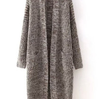 Brown Salt & Pepper Long Knitted Open Cardigan
