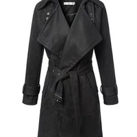Lapel Suede Thick Belted Trench Coat