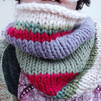 Chunky knit scarf. Chunky cowl, Grunge clothing, chunky winter cowl, colourful chunky scarf