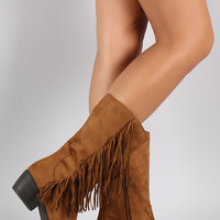 Soda Suede Fringe Round Toe Cowgirl Mid Calf Boot