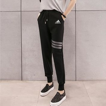 """Adidas"" Women Sport Casual Classic Stripe Sweatpants Leisure Pants Trousers"