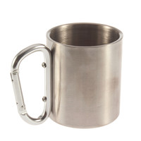 STAINLESS STEEL CAMPING OUTDOOR PORTABLE CUP CARABINER HOOK COFFEE MUG