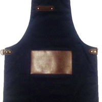 HANDMADE CHEF'S APRON WITH JAPANESE CROSSBACK INCLUDES LEATHER POCKET