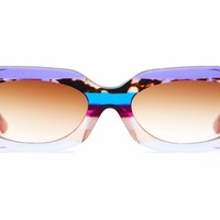 Crap Eyewear - The Supa Phreek 49mm Lilac Stripes Sunglasses / Amber Gradient Lenses
