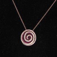 Effy Diamond Ruby 14 Karat Rose Gold Flower Pendant & Necklace Estate Fine Jewelry